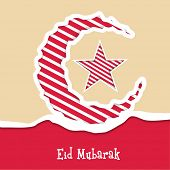 Stylish crescent moon and star on beige and red background for the occasion of Muslim community fest