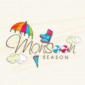 Beautiful greeting card design for monsoon season with colourful umbrellas, clouds and boots on abstract background.