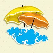Creative monsoon season background with colourful umbrellas holding blue clouds.