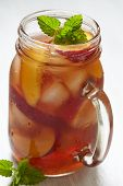 picture of mason  - Fresh peach ice tea in a mason jar - JPG