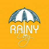 Stylish greeting card design with umbrella on yellow background for rainy day.