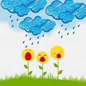 Beautiful flowers in different smily poses on floral decorated blue clouds and raindrops.