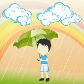 Beautiful monsoon season nature background with rainbows, clouds and cute little boy holding umbrell