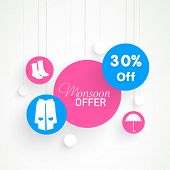 Stylish colorful sticky set with 30% off monsoon offer on boots, raincoats and umbrellas.