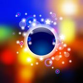 Web and mobile interface template with blurred multicolored lights, dark blue circle and shining stars