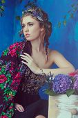 pic of bohemian  - Beautiful brunette woman with braid hairstyle and natural makeup - JPG