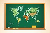 School Background With Geography Map Drawing On Blackboard, Vector