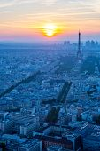 Aerial view of Eiffel Tower sunset, Paris France