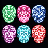 Mexican sugar skull, Dia de los Muertos colorful icons set on black