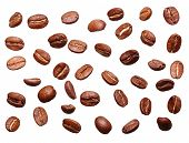 Falling black coffee grain, bean isolated on white background