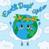 Earth Day. 22 april. Greeting card.