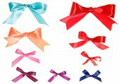 Set of colorful gift bows with ribbons