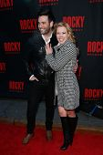 NEW YORK-MAR 13: Actors Colin Donnell (L) and Patti Murin attend the 'Rocky' Broadway opening night