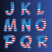 USA alphabet on a blue background