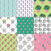 Seamless summer garden birds bike and barbecue doodle illustration collection set background pattern