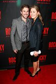 NEW YORK-MAR 13: Adam Todd (L) and Taylor Peacock attend the 'Rocky' Broadway opening night after pa