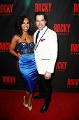 NEW YORK-MAR 13: Actors Lauren Jackson (L) and Vince Oddo attend the 'Rocky' Broadway opening night