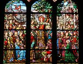 PARIS, FRANCE - NOV 11, 2012: Saint Mary Magdalene, stained glass. The Church of St Severin is Catho