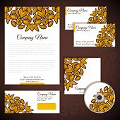 Corporate identity with floral gold ornament