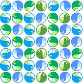 Vector pattern - fish in circles.