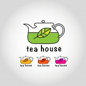 Tea House. Sign - a kettle with tea leaf. Vector sign.