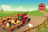 stock photo of hayride  - A vector illustration of kids on a hayride in a farm during Fall season - JPG