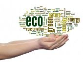 Concept or conceptual abstract green eco ecology, conservation word cloud text in man hand on white