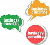 Business Consulting. Set Of Stickers, Labels, Tags. Template For Infographics