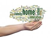 Concept or conceptual home education abstract word cloud, human man hand on white background