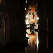 View Of A Canal And Bridge At Night, Venice, Italy