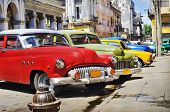 HAVANA, CUBA - JULY 14, 2009: Group of classic vintage american cars parked, commonly used as privat
