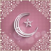 Shiny arabic islamic calligraphy of text Eid Mubarak and star on floral decorated peach background f