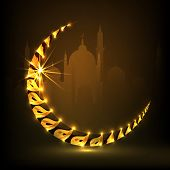 Golden crescent moon on mosque silhouetted brown background for Muslim community festival Eid Mubara