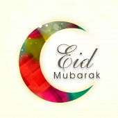 Colorful crescent moon on bright yellow background for Muslim community festival Eid Mubarak celebra