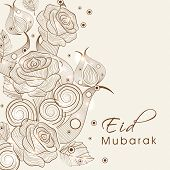 Beautiful floral decorated greeting card design for the occasion of Muslim community festival Eid Mu