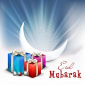 Beautiful greeting card design with crescent white moon and gift boxes on shiny blue background for the celebration of Muslim community festival Eid Mubarak.