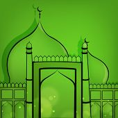 Beautiful greeting card design with mosque on green background for Muslim community festival Eid Mub