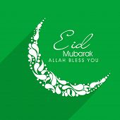 Beautiful floral decorated crescent moon on green background for the occasion of Muslim community fe