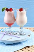 Delicious milkshakes, close-up