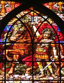 PARIS, FRANCE - NOV 09,2012:Second Apocalyptic horsemen,stained glass.Church of Saint-Jean-de-Montma