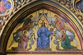 PARIS, FRANCE - NOV 06, 2012: Christ in Judgment, Interiors and architectural details of the Sainte