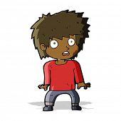 cartoon frightened boy
