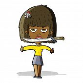 cartoon woman with knife between teeth