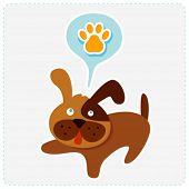 cute cartoon dog with paw icon - vector illustration