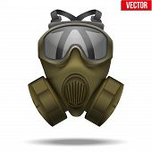 Khaki gas mask respirator. Vector Illustration.