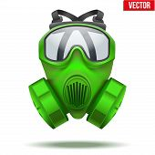 Green gas mask respirator. Vector Illustration.