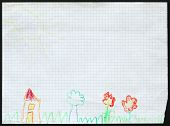 Original child's drawing of a house on the blossoming meadow drawing by a five-year-old girl.