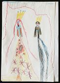 Original child's drawing of a king and queen drawing by a five-year-old girl.