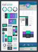 flat UI kit for web and mobile, UI design, page website design template. All in one set for website