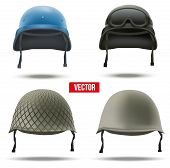 Set of Military helmets. Vector Illustration.